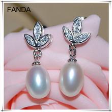 925 silver pear/teardrop freshwater pearl earrings wholesale price