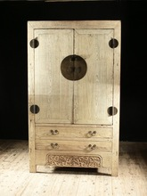 Chinese antique bedroom wood two door two drawer cloth cabinet