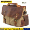 2014 Style Fashion Casual Khaki Custom Canvas and Leather Office Bags For Men