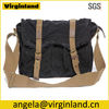 0118 Latest Fashion Durable Black Canvas High School Shoulder Bags with Leather Trim