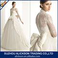2014 global moda pescoço alto vestido de manga comprida appliqued casamento vestido de renda