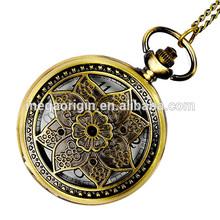 New 2014 large maple retro flip quartz pocket Watch cheap alloy pocket watch
