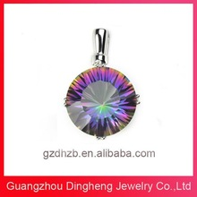 China Wholesale Natural Mystic Quartz 925 Sterling Silver Jewelry Pendant Charms for Women