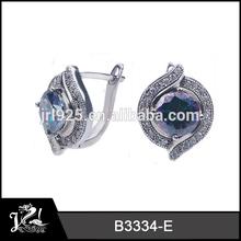 14K White Gold Amethyst and White Diamond Stud Earrings