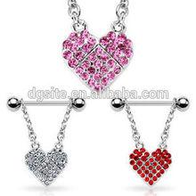 Hot sale 14g gem heart dangle nipple rings shields