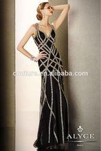 Woman Dress Sexy V Neck Sleeveless Black Sequins Tulle 5638 Black Label Fall 2014 Ballroom Dancing Evening Dresses China