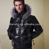 OEM Service Fashion Winter Warm Short Bomber Down Jacket Faux Leather Lapel Real Fox Fur Coat