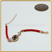 HXY wholesale popular red wrap rose gold plated rhinestone bangle bracelet