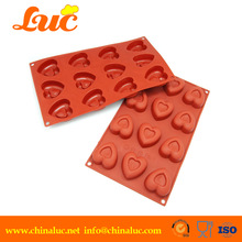 Eco-friendly 12 cavities heart shape silicone chocolate molds fondant silicone mold silicone baking molds