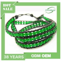 Hot wrap bracelet, leather cord gemstone bracelets, jade beaded bracelets