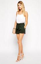 Laest design fashion high waist women shorts with belted waist detail