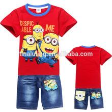 2014 Summer Kids Clothes Sets Despicable Me Minions t-shirts + Jeans Unisex fanshion clothing