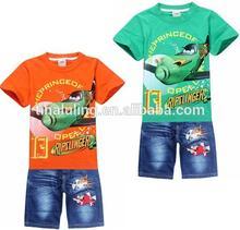 Wholesale children boutique clothing kids orange and green shirt sleeve t shirts+ jeans 2pcs clothing sets