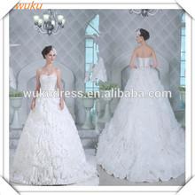 Beautiful lace beaded bodice organza ball gown wedding dress