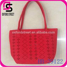 China factory wholesale red felt korean handbag