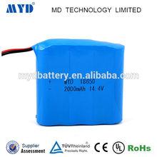 Li-ion battery 18650 2000mAh 14.4V lipo Battery for Flashlight/Torch