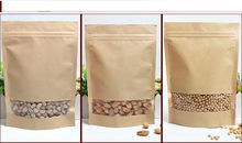 KOLYSEN 16*(26+4)cm brown kraft paper bag for food