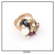 Flexible New Design Ladies Gold Index Finger Rings Paved With Rhinestone Pearl