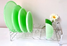 Milk glass plate/glass bowl