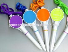 2014 Custom pen plastic promotional ball pen with pen string