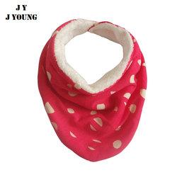 KD-B044 Wholesale high quality dot red triangle fleece back baby bibs