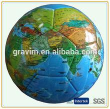 2014 new world map design high quality machine sewn soccer ball