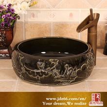 Preto de cerâmica dissipador de lavagem para cabeleireiro