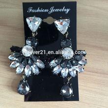 Jet and Grey Crystal Drop Fan Earrings