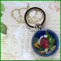 Novelty Resin Gift Real Sea Life Inside Keychain handicraft made of shells