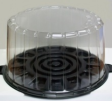 Disposable plastic clear round cake box