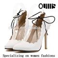 الدانتيل أحذية نسائية عالية الكعب أحذية بيضاء pf3103