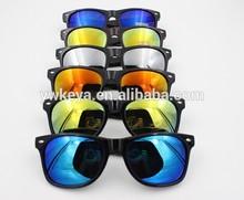 Hot selling cheap sunglasses,plastic wayfarer sunglasses with mirror reflective lens