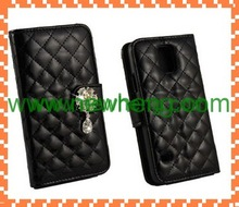 Quilted PU Leather Wallet Case Chain Wristlet Purse Free Sample Cell Phone Case For Samsung Galaxy S5