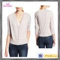 Cropped Womens decote em V e fecho de botões 3 4 blusas manga Top