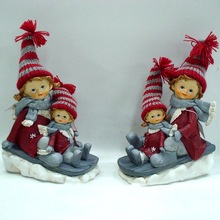 Resin kids with fabric hat figurine craft for christmas gift