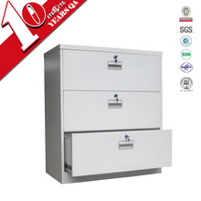 3 drawers modish lateral wide metal file cabinet /knock down structure