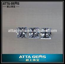 cheap princess cut white zirconia gems stone piece