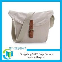 White canvas junior school book shaped bag messenger shoulder bag