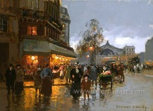 paris street oil paintings for home decorative