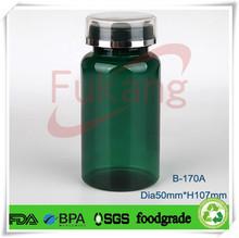 170cc Dark Green Sealable Plastic Bottles Effervescent Tablet Bottle Lid