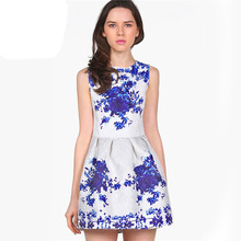 2015 Party Wedding Casual Women Clothing Fashion White Sleeveless Porcelain Printed Flare Knee Length Pleated Dress