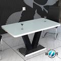 madera mesa de comedor de vidrio con tapa de metal base de mesa de comedor