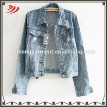 Fashion denim kids blue jean jacket with long sleeve