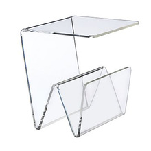 Clear Cheap Lucite Plastic Bed Side Table with Book Holder