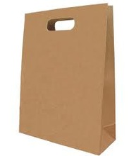 brown die cut handle paper grocery bag