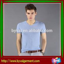 Men V-neck 100% cotton T-shirt Fashion design T-shirt wholesale From china