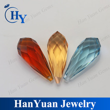 hot sale colored drop water faceted cut glass beads