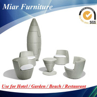Garden furniture rattan vase chair and table 102046A+202046Z