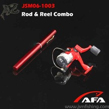 Good quality mini red portable fishing rod in pen case, Combo fishing rod and reel JSM06-1003