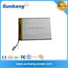 SUNB327398 ture capacity rechargeable deep cycle 3.7v 3000mah li polymer battery